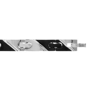 Bracelet en acier et bandes noires larges en diagonales - largeur 8mm et longueur 20cm + 1cm réglable par double fermoir - Vue 1