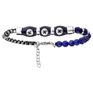 Bracelet en acier et cuir bleu avec boules quartz bleu 20+3cm - Vue 1