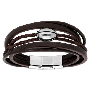 Bracelet en acier et cuir marron plusieurs bracelets et ballon de rugby - double fermoir 21cm réglable 20 - Vue 1