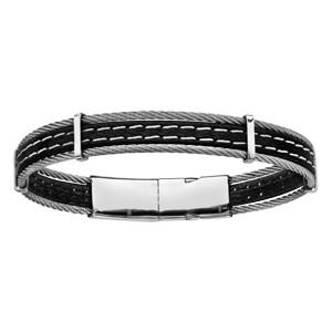 720f157ac7303 ... Bracelet en acier et cuir noir avec 2 coutures blanches et 1 câble en  acier de