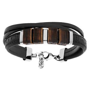 Bracelet en acier et cuir noir avec éléments bois 19+3cm - Vue 1