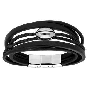 Bracelet en acier et cuir noir plusieurs bracelets et ballon de rugby - double fermoir 21cm réglable 20 - Vue 1