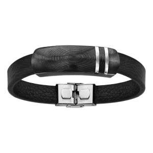 Bracelet en acier et cuir plaque carbone 21cm réglable - Vue 1