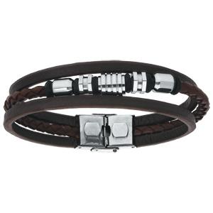 Bracelet en acier et cuir 3 rangs marron avec perles motifs 20,5cm réglable - Vue 1