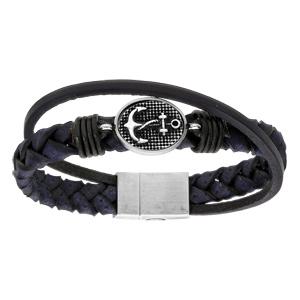 Bracelet en acier et cuir tressé bleu avec ancre marine patinée - 22cm fermoir aimanté - Vue 1