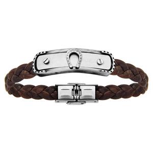 Bracelet en acier et cuir tressé marron plaque avec fer à cheval réglable 20cm - Vue 1