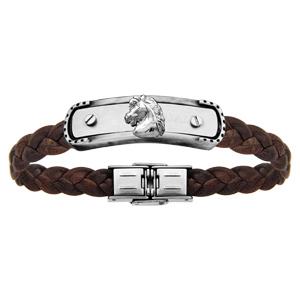Bracelet en acier et cuir tressé marron plaque avec tête de cheval réglable 20cm - Vue 1