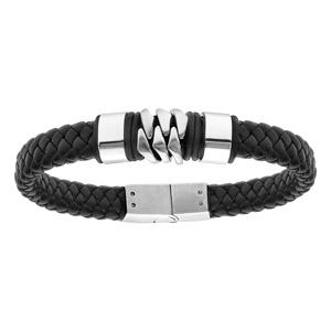 Bracelet en acier et cuir tresse noir 20,5cm - Vue 1