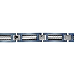 Bracelet en acier et PVD bleu maillons ornés de 3 câbles, 2 noirs et 1 gris alternés - longueur 21,5cm + 1cm réglable par double fermoir - Vue 1
