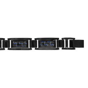 Bracelet en acier et PVD noir avec carbone tressé et reflets bleus - longueur 20cm + 1,5cm réglable par double fermoir - Vue 1