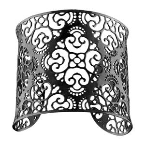 Bracelet en acier et PVD noir manchette motif filigrané - Vue 1