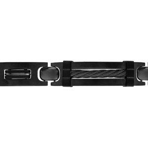 Bracelet en acier et PVD noir plaque et  gros câble noir 21,5cm (réglable en 20,50 et 19 cm) triple fermoir - Vue 1