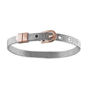 Bracelet en acier et PVD rose maille souple ceinture fine ajustable - Vue 1