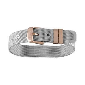 Bracelet en acier et PVD rose maille souple ceinture large ajustable - Vue 1