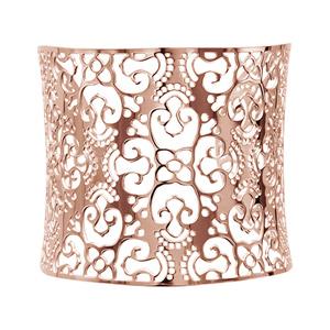 Bracelet en acier et PVD rose manchette motif filigrané - Vue 1