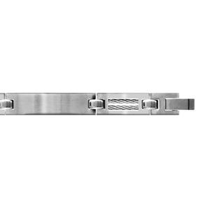 Bracelet en acier finition satinée 3 longs maillons lisses alternés de maillons plus petits et ornés de 2 câbles gris - longueur 18,5cm + 1cm réglable par double fermoir - Vue 1