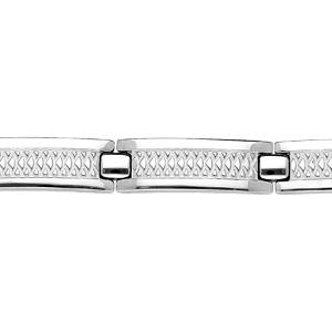 Bracelet en acier lisse avec motif - double fermoir 21+1,5cm réglable - Vue 1