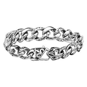 Bracelet en acier maille gourmette avec maillons motif écailles - longueur 21,5cm - Vue 1