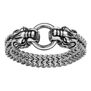Bracelet en acier maille palmier avec 2 têtes de dragons aux extrémités et fermoir boucle - longueur 22cm