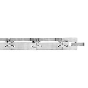 Bracelet en acier maillons lisses en 2 parties, 1 fine et l\'autre large - longueur 20,5cm + 1,5cm réglable par double fermoir - Vue 1