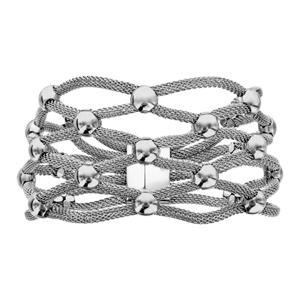Bracelet en acier manchette boules et maille tube - Vue 1