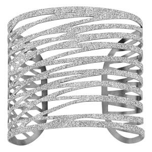 Bracelet en acier manchette formes géométriques effet givré ajouré avec plusieurs traits - Vue 1