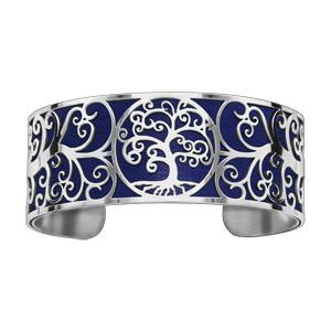 Bracelet en acier manchette motif arbre de vie bleu nuit - Vue 1