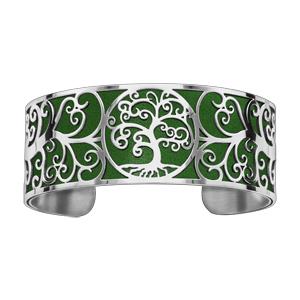 Bracelet en acier manchette motif arbre de vie polyuréthane vert - Vue 1