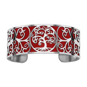 Bracelet en acier manchette motif arbre de vie rouge - Vue 1