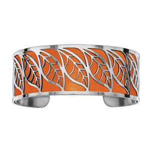 Bracelet en acier manchette motif feuillage orange - Vue 1