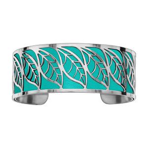 Bracelet en acier manchette motif feuillage polyuréthane turquoise - Vue 1