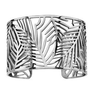 Bracelet en acier manchette motif floral feuillage lisse - Vue 1