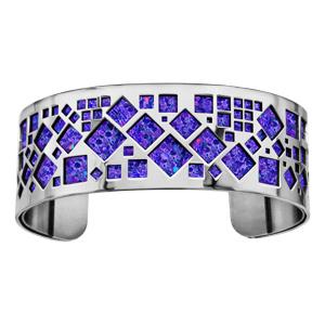 Bracelet en acier manchette motifs carrés glitter violet - Vue 1