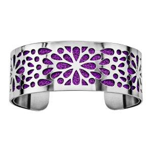 Bracelet en acier manchette motifs fleurs avec fond glitter violet - Vue 1
