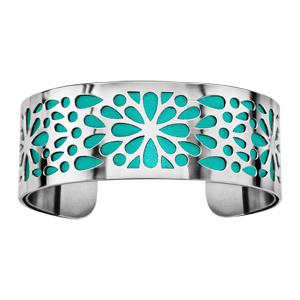 Bracelet en acier manchette motifs fleurs avec fond turquoise - Vue 1