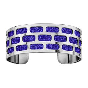Bracelet en acier manchette motifs géométriques glitter bleu royal - Vue 1