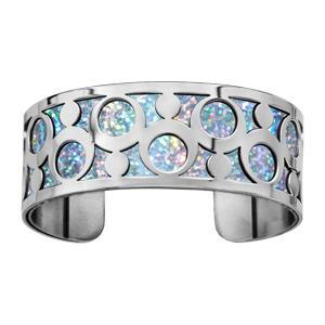 Bracelet en acier manchette motifs ronds glitter azur - Vue 1