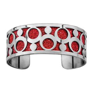 Bracelet en acier manchette motifs ronds glitter rouge - Vue 1