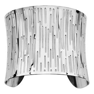 Bracelet en acier manchette rainures verticales - Vue 1