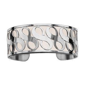 Bracelet en acier manchette symboles infini blanc - Vue 1