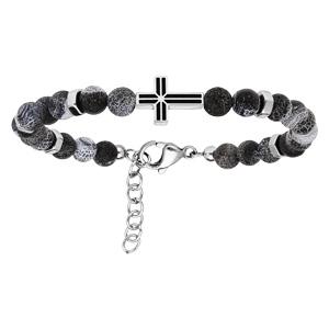 Bracelet en acier perles d\'agate grise avec Croix 19+2cm - Vue 1