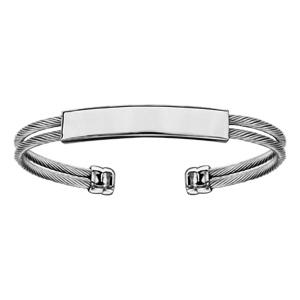 Bracelet en acier 2 rangs câble plaque d\'identité à graver diamètre 60mm X 50mm - Vue 1