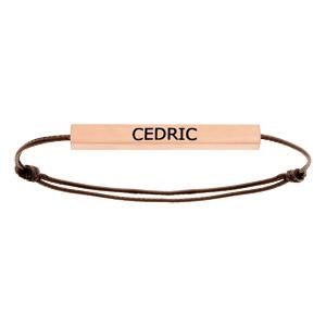 Bracelet en acier rose satiné tube rectangulaire 4mm personnalisable avec cordon marron réglable - Vue 1
