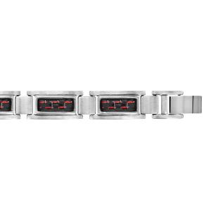 Bracelet en acier satiné carbone reflet rouge réglable double fermoir 20cm + 1,5cm - Vue 1