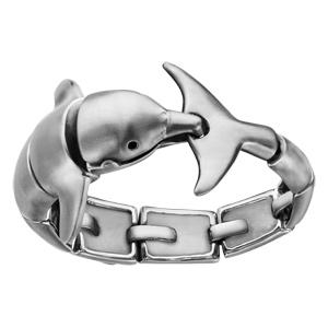Bracelet en acier satiné dauphin articulé - longueur 23,5cm - Vue 1