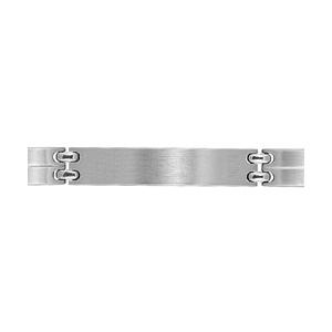 Bracelet en acier satiné maillons lisses avec un trait au milieu et avec plaque à graver au milieu - largeur 9mm et longueur 21cm - Vue 1