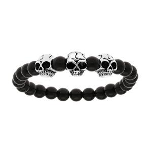 Bracelet en argent avec boules en pierre de lave noire brillante et 3 tête de mort - longueur 19cm - Vue 1