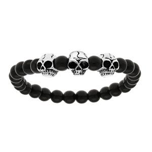 Bracelet en argent avec boules en pierre de lave noire brillante et 3 tête de mort - longueur 22cm