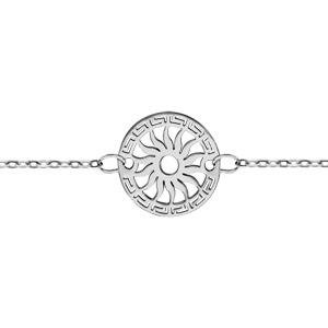 Bracelet en argent chaîne avec rond découpé en méandres grecs sur le tour et soleil au milieu - longueur 16cm + 3cm de rallonge - Vue 1