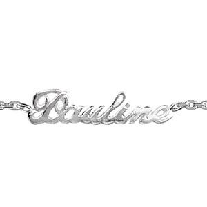 Bracelet en argent chaîne maille forçat avec découpe anglaise 1 prénom - longueur 18,5cm réglable 17cm - Vue 1